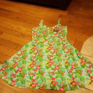 MATILDA JANE WOMENS GREEN FLORAL DRESS SIZE 8 NEW